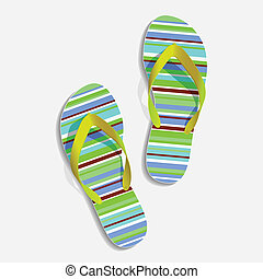 Beach slippers - beach slippers strip painted in different...