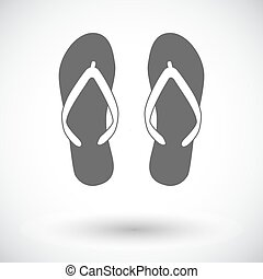 Beach slippers. Single flat icon on white background. Vector...