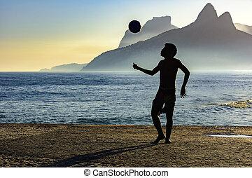 Beach soccer and the ocean