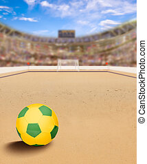Beach Soccer Arena With Ball on Sand and Copy Space