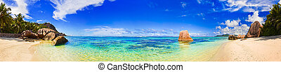 Beach Source d'Argent at Seychelles