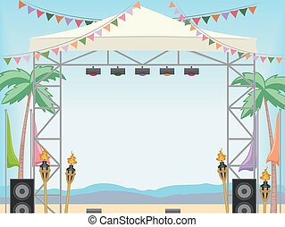 Beach Stage Day Frame - Frame Illustration of a Beach...