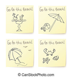 beach stickers with hand drawn elements