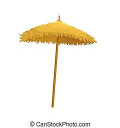 Beach straw umbrella. Vector illustration for hawaiian party...