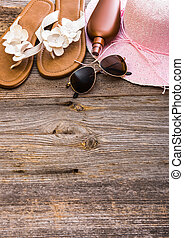 Beach stuff - Beach accessories. Summer shoes and hat with...