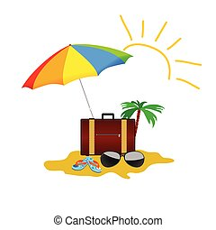 beach stuff color vector on a white background