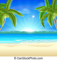 Beach summer holiday background - Summer holiday beach...