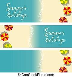 beach summer holiday template for flyer - Set of beach...