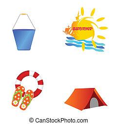 beach summer icon art vector illustration