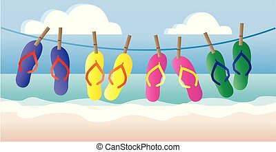 beach summer vacation header or banner