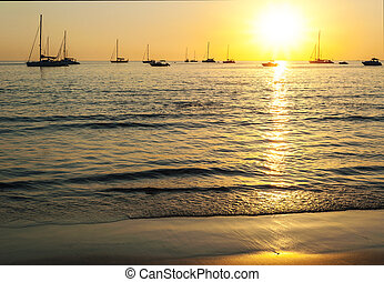 Beach sunset in over light the sun
