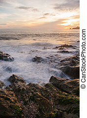 Beach sunset in twilight, Long exposure