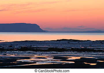 Beach sunset - Cape Blomidon Mountain, from Summerville...