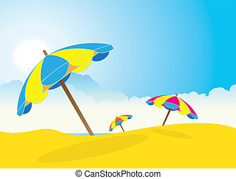 Beach Sunshades - An illustration of a sandy beach scene...
