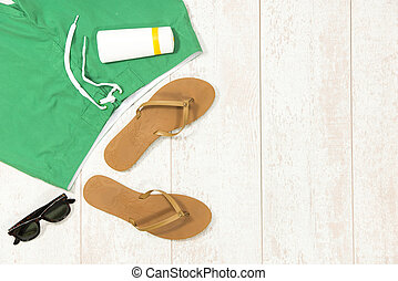 Beach Supplies On Floorboard