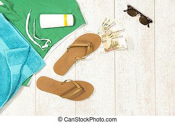 Beach Supplies With Money On Floorboard
