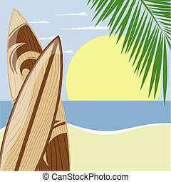 beach surfboards - surfboards on beach background with copy...