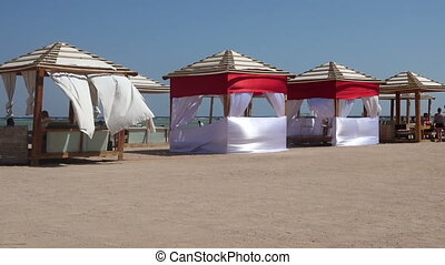 Beach tent swaying on the wind, Egypt