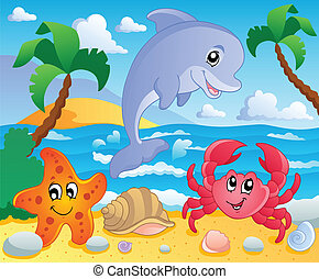 Beach theme scenery 3 - vector illustration.
