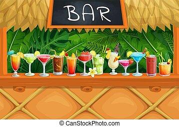 Beach tiki bar, alcoholic cocktails, vector illustration....