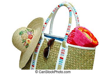 Beach Time - Beach bag with beach towel, sun hat, and ...