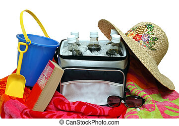 Beach Time - Cooler with sun hat, sunglasses, beach towel,...