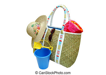 Beach Time - Beach bag with beach towel, sun hat,...
