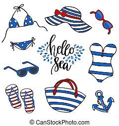 Beach time vector illustration. Swimsuit, eyeglasses,...