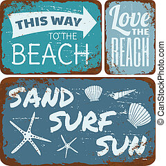 Beach Tin Signs Collection - A collection of old rusty beach...