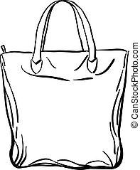 Beach tote bag sketch. Vector illustration. - Beach tote bag...