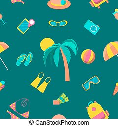 Beach Tourism and Travel Seamless Pattern. Vector background