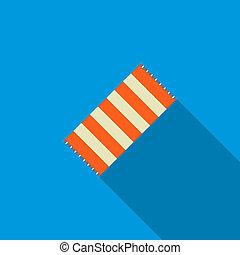 Beach towel icon, flat style