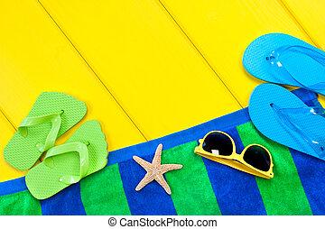 Beach towel on deck