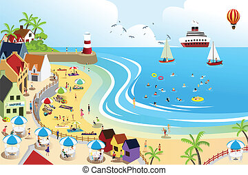 A vector illustration of a view of a beach town from above