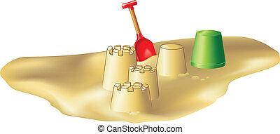 Beach toys and sandcastles - Sand casles and beach toys on a...