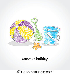 Beach Toys - Doodle style illustration of beach ball and...