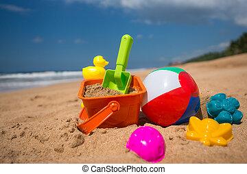 Beach toys in the sand at the beach