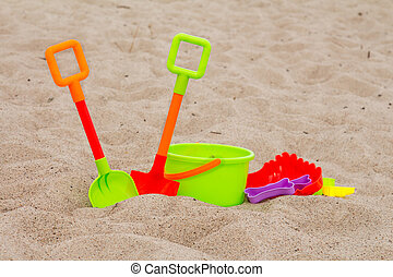 Beach toys on the sand