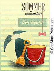Beach toys Summer retro postcard - vector illustration