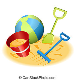 Beach toys - Vector illustration of beach toys in the sand