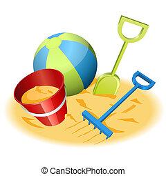 Beach toys - Vector illustration of beach toys in the sand