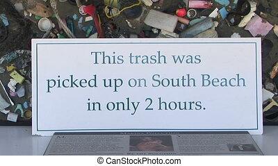 Beach Trash - Display of trash cleaned up on one beach in...