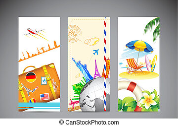 illustration of travel banner and photograph of sea beach