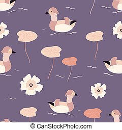Beach tropical seamless pattern with mandarin ducks