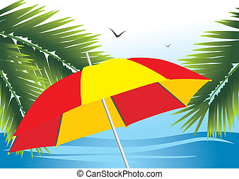 Beach umbrella among the palm