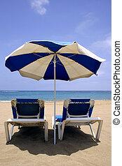 Beach Umbrella and Beds - Perfect beach scene