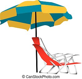 Beach umbrella and chair - Illustration of a blue and yellow...