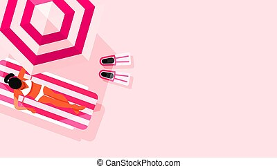 Beach umbrella and girl sunbathes on a deck chair with copy space. Vector illustration. Creative minimal summer card. Top view, flat lay