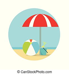 Beach umbrella, ball and a bucket with a shovel on sea...