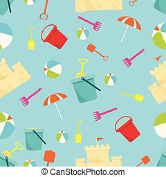 Beach umbrella, ball and a bucket with a shovel on sea background